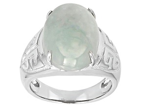 Pre-Owned Green Jadeite Silver Ring