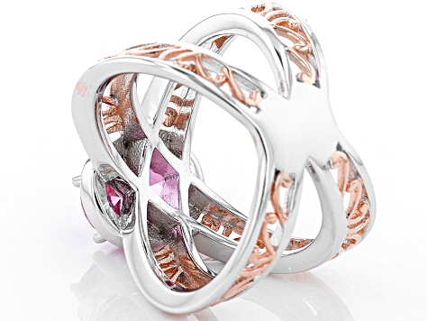 Pre-Owned Pink Danburite Rose Two-Tone Sterling Silver Ring 1.66ctw