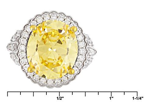 Pre-Owned Yellow And White Cubic Zirconia Silver Ring 15.12ctw (9.00ctw DEW)