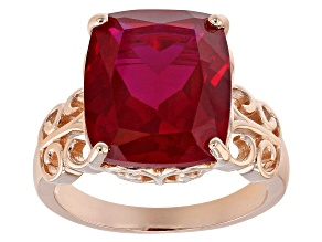 Pre-Owned Red lab created ruby 18k rose gold over silver ring 8.20ct