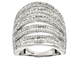 Pre-Owned Diamond Rhodium Over Sterling Silver Ring 2.05ctw