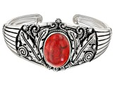 Pre-Owned Red Coral Sterling Silver Bracelet