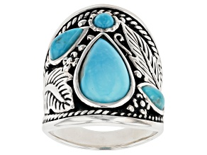 Pre-Owned Kingman Turquoise Rhodium Over Silver Ring