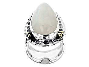 Pre-Owned White Rainbow Moonstone Silver Ring