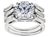 Pre-Owned White Cubic Zirconia Rhodium Over Sterling Silver Center Design Ring With Bands 7.99ctw