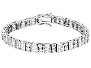 Pre-Owned White Cubic Zirconia Rhodium Over Sterling Silver Bracelet 22.77ctw