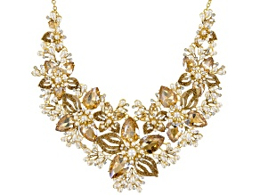 Pre-Owned Multicolor Crystal Gold Tone Floral Statement Necklace