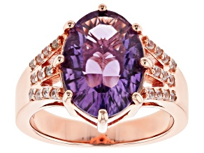 Pre-Owned Purple amethyst 18k rose gold over silver ring 4.47ctw