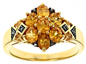 Pre-Owned Orange spessartite 18k yellow gold over sterling silver ring 1.43ctw