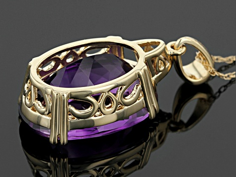 Pre-Owned Purple Amethyst 14k Yellow Gold Pendant With Chain 8.92ctw