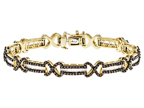 Pre-Owned Brown And White Cubic Zirconia 18k Yellow Gold Over Silver Bracelet 6.35ctw (3.72ctw DEW)