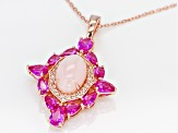 Pre-Owned Pink Peruvian opal 18k rose gold over silver pendant/enhancer with chain 3.23ctw