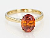 Pre-Owned Orange Sphalerite Solitaire 10K gold Ring  2.12ct
