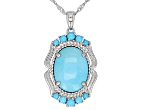 Pre-Owned Sleeping Beauty Turquoise Rhodium Over Silver Pendant with Chain