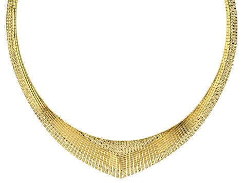 Pre-Owned 18k Yellow Gold Over Bronze Textured Graduated Omega 18 inch Necklace