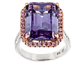 Pre-Owned Lavender, Pink, and White Cubic Zirconia Rhodium Over Sterling Silver Ring 21.13ctw
