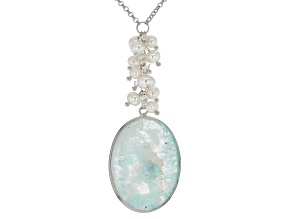 Pre-Owned 5-6.5MM CULTURED FRESHWATER PEARL & MULTI-GEM RHODIUM OVER SILVER 26 INCH NECKLACE