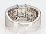 Pre-Owned Fabulite Strontium Titanate And White Zircon Sterling Silver Band Ring 4.15ctw
