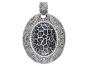 Pre-Owned Black Coral Sterling Silver Pendant