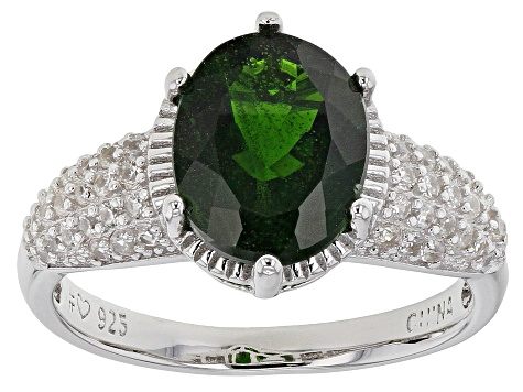 Pre-Owned Green Chrome Diopside Rhodium Over Sterling Silver Ring 3.21ctw