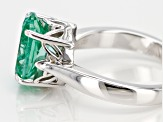 Pre-Owned Green lab spinel rhodium over silver ring 3.42ct