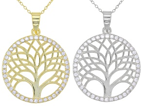 Pre-Owned White Cubic Zirconia Rhodium And 18K Yellow Gold Over Silver Pendant With Chain Set of 2 1
