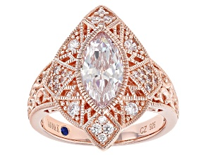 Pre-Owned White Cubic Zirconia 18k Rose Gold Over Sterling Silver Ring 3.24ctw