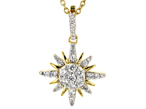 Pre-Owned White Cubic Zirconia 18K Yellow Gold Over Silver North Star Pendant With Chain