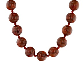 Pre-Owned Red Coral Silver Necklace