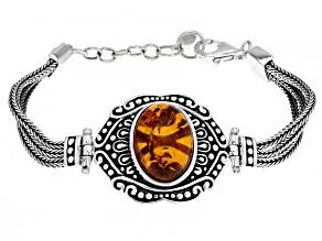 Pre-Owned Orange Amber Sterling Silver Bracelet