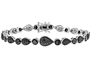 Pre-Owned Black Spinel Rhodium Over Silver Bracelet 4.67ctw