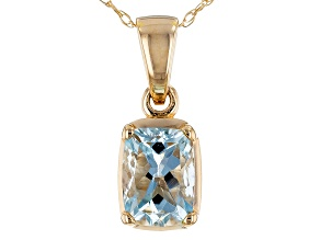 Pre-Owned Blue Aquamarine 14k Yellow Gold Pendant With Chain .80ct.