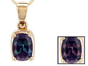 Pre-Owned Color Change Lab Alexandrite 14k Gold Pendant With Chain 1.11ct.