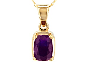 Pre-Owned Purple Amethyst 14k Yellow Gold Pendant With Chain .73ct.