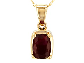 Pre-Owned Red Garnet 14k Yellow Gold Pendant With Chain 1.06ct.