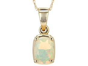 Pre-Owned Multi Color Ethiopian Opal 14k Yellow Gold Pendant With Chain .41ct.