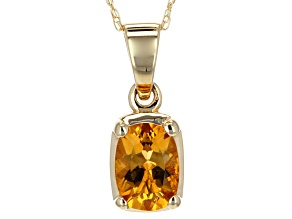 Pre-Owned Yellow Madiera Citrine 14k Yellow Gold Pendant With Chain .85ct.