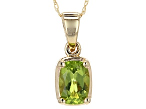 Pre-Owned Green Peridot 14k Yellow Gold Pendant With Chain .78ct.