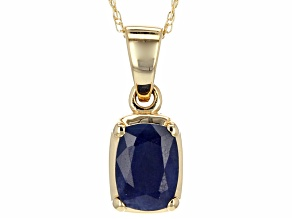Pre-Owned Blue Sapphire 14k Yellow Gold Pendant With Chain 1.23ct.