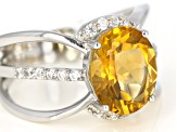 Pre-Owned Yellow Citrine Rhodium Over Silver Ring 3.20ctw