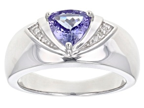 Pre-Owned Blue tanzanite rhodium over silver ring .84ctw