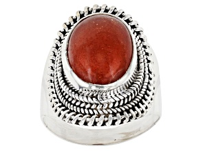 Pre-Owned  Orange Sunstone Sterling Silver Ring