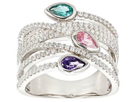 Pre-Owned Green, Pink, Purple, & White Cubic Zirconia Rhodium Over Sterling Silver Ring 1.69ctw
