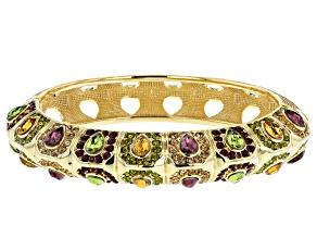 Pre-Owned Multicolor Crystal Gold Tone Bangle Bracelet