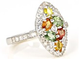 Pre-Owned Mixed-Color Sapphire Rhodium Over Silver Ring 2.55ctw