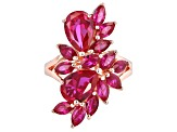 Pre-Owned Red Lab Created Ruby 18k Rose Gold Over Silver Ring 7.29ctw