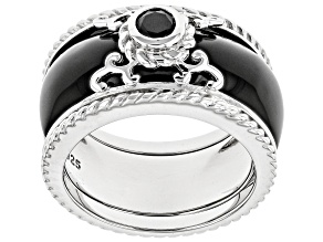 Pre-Owned Black Onyx Rhodium Over Silver 2-Ring Set .25ct