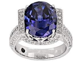 Pre-Owned Blue And White Cubic Zirconia Platineve Ring 9.63ctw