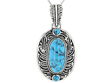Pre-Owned Kingman Turquoise Rhodium Over Silver Enhancer With Chain