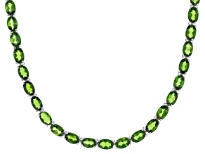 Pre-Owned Green Chrome Diopside Rhodium Over Silver Necklace 29.47ctw
